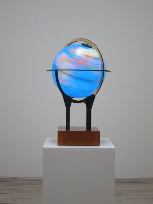 Fayçal Baghriche, Souvenir, 2012, Steel, plexiglass, motor and wood, 75 x 48 cm diameter. Art Jameel Collection. Photo courtesy of the artist and Galerie Jérôme Poggi, Paris.