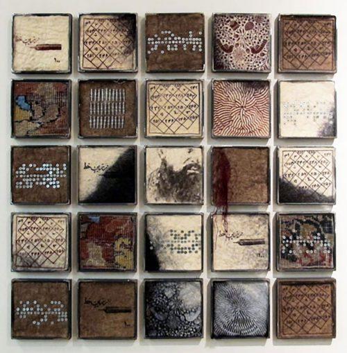 Bita Ghezelayagh, Talismanic Fragments, 2014, Felt, carpet, wire, screws, silken thread, old pen nibs and iron, 113 x 113 cm. Art Jameel Collection. Photo courtesy of the artist.