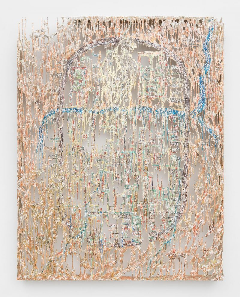 Diana Al-Hadid, The Falcon and The Bandit, 2017, Polymer gypsum, fiberglass, steel, plaster, copper leaf, gold leaf, painter's tape and pigment, 274.3 x 213.4 x 14 cm, Art Jameel Collection. Courtesy of the artist and Marianne Boesky Gallery, New York and Aspen. Photo courtesy of Object Studies.
