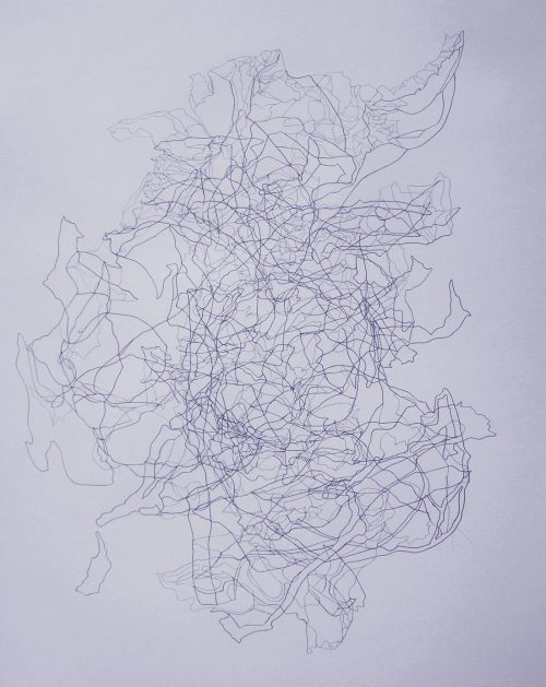 Doa Aly, Drawing #128, 2018, Pencil on cotton paper, 95 x 60 cm. Art Jameel Collection. Photo courtesy of the artist and The Gypsum Gallery.