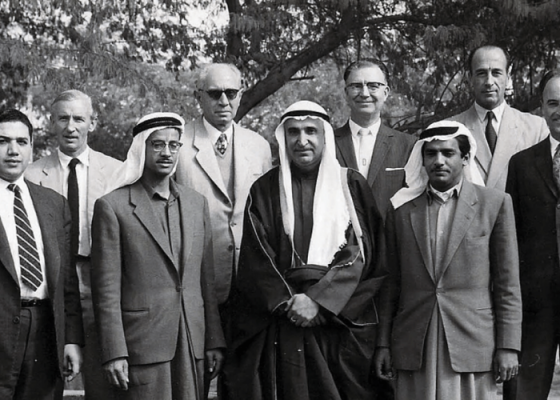 Egyptian architect and planner Mahmoud Riad (second row, second from left) in Kuwait. Image courtesy of Riad Architecture and Mahmoud Riad Archives