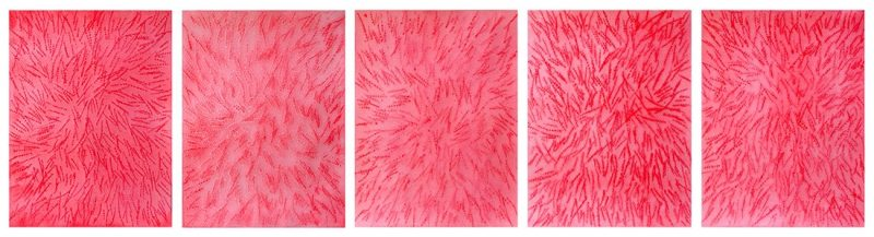 Mohammed Kazem, Acrylic on Scratched Paper, 2013, Pink ink on scratched paper, 30.48 x 22.86 cm (each), Art Jameel Collection. Photograph courtesy of the artist and Gallery Isabelle van den Eynde.