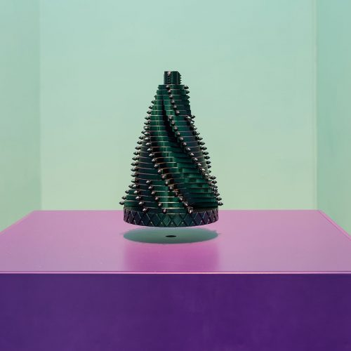 Monira Al Qadiri, OR-BIT 1, 2016, 3D printed plastic sculpture, automotive paint and levitation module, 20 x 30 x 20 cm, Art Jameel Collection. Photo by Mohamed Somji.