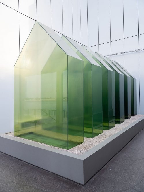 Shaikha Al Mazrou, Interior yet Exterior, Manmade yet Natural, 2018, Tempered glass, Dimensions variable. Art Jameel Collection. Photo by Mohamed Somji.