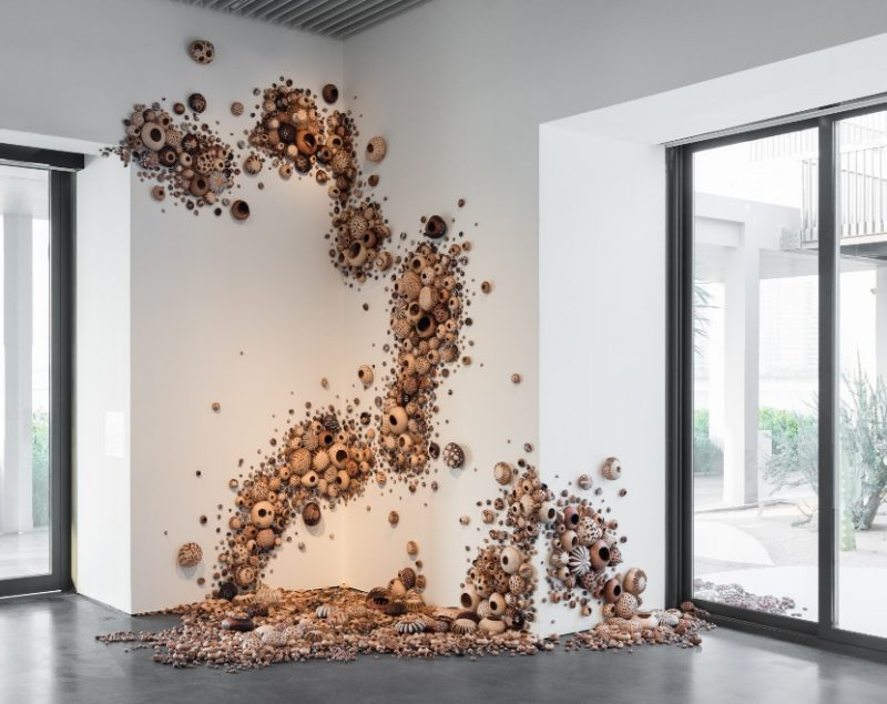 Zahrah Al Ghamdi, Mycelium Running, 2019, Natural leather, Dimension variable. Art Jameel Collection. Photo courtesy of the artist and Athr Gallery.