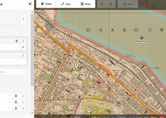 Palestine Open Maps online digitisation interface, utilising OpenStreetMap iD Editor