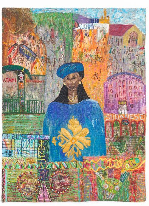 باسيتا آباد، من دورو وات إلى السوشي ووينغز وتنغز، 1991، أكريليك، زيت، كانفاس ملونة، أزرار بلاستيكية، خرز على قماش مخيط ومبطن، 239.5×177 سم، محقوق الصورة لماكس مكلور، مجموعة فن جميل